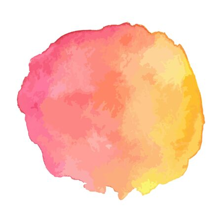 Vector illustration of abstract watercolor splatter isolated on white background. Pink and yellow bright positive colors. Vibrant background