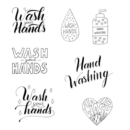 Hand washing vector illustration set isolated on white background. Poster about hygiene. Restroom or bathroom print, toilet quote. Safety measure against viruses and bacteria. Hand drawn doodle