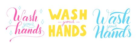 Wash your hands vector lettering text isolated on white background. Poster about hygiene. Restroom or bathroom print, toilet quote. Safety measure against viruses and bacteria. Hand drawn illustration