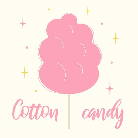 Cotton candy flat vector illustration. Pink sweets on wooden stick. Yummy treat for children offered in amusement or theme park. Illustration