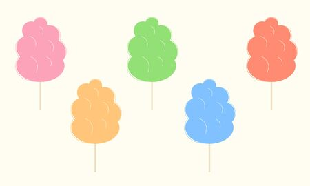 Collection of cotton candies of different flavors. Flat vector illustration of fluffy sweets on wooden sticks. Yummy treat for children offered in amusement or theme park