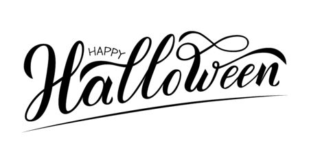 Happy Halloween hand written text. Vector illustration isolated on white background. Script brushpen lettering with flourishes. Handwriting for banner, poster, greeting card or invitation