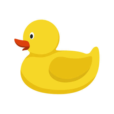 Yellow rubber duck. Bathroom toy isolated on white background. Funny ducky for playing in the bath tub. Vector illustration