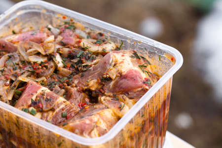 Raw marinaded juicy pork meat in plastic container. Fresh food prepared for barbeque. Summer cooking outdoors