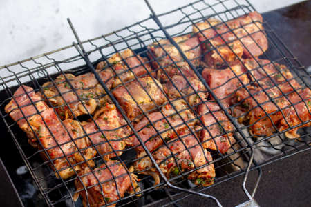 Raw marinaded juicy pork meat in grill grates. Fresh food prepared for barbeque. Summer cooking outdoors
