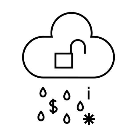 Cybersecurity outline icon. Cloud data leakage concept. Simple line art isolated illustration