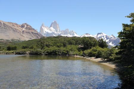chalten: Capri lake and Fitz Roy hill in Chalten, Patagonia, Argentina