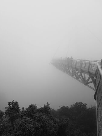 Sky bridge in the fog in Langkawi Malaysia black and white colors