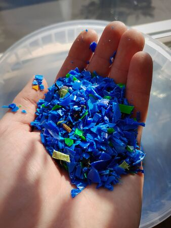 Multiple colors plastic granulate polypropylene close up