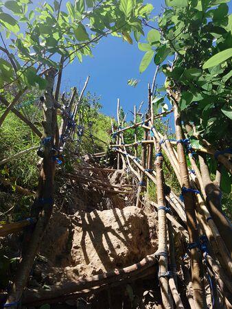 Stairs to climb to reach Kelingking Beach in Nusa Penida