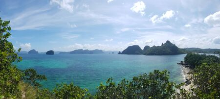Panoramic image of islands in the ocean in El Nido, The Philippines