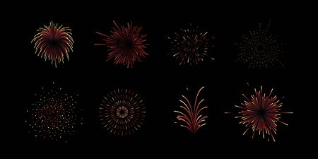Collection or set of eight fireworks vectors icons in different gradient colors isolated on black background for new years eve Ilustração