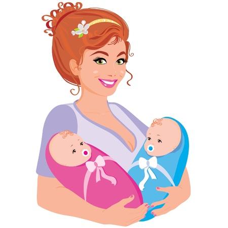 mums: Ilustraci�n vectorial joven madre feliz con los dos ni�os Vectores
