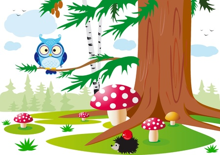 colorful vector illustration of the forest with animals for the children
