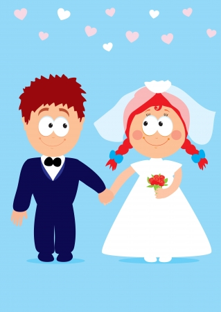 Vector illustration of funny newlyweds holding hands