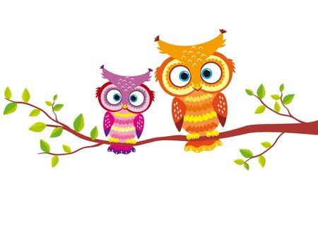illustratie van twee heldere en mooie uilen voor uw ontwerp