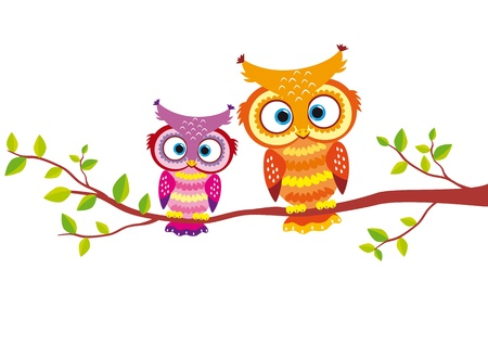 cute bird: illustration of two bright and beautiful owls for your design Illustration
