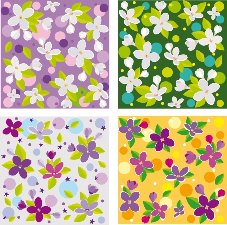 collection of seamless floral backgrounds beautiful lilacs Vector