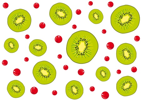 Seamless background slices of juicy kiwi and red berries Vector