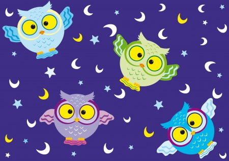 vector seamless background with fun colorful owls