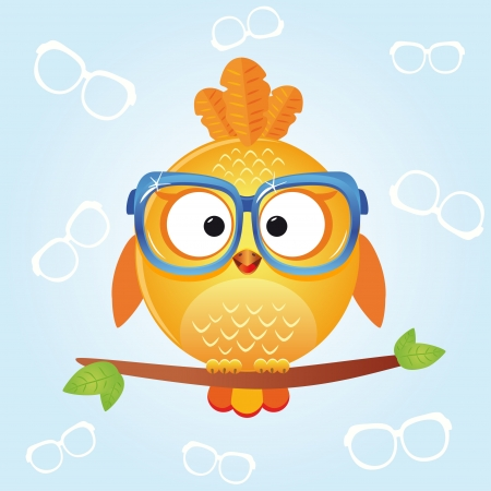 blue bird: bird glasses Illustration