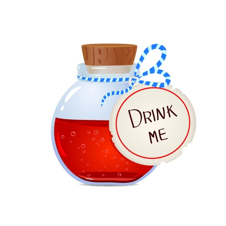 potion: illustration of a bottle with a magic potion Illustration