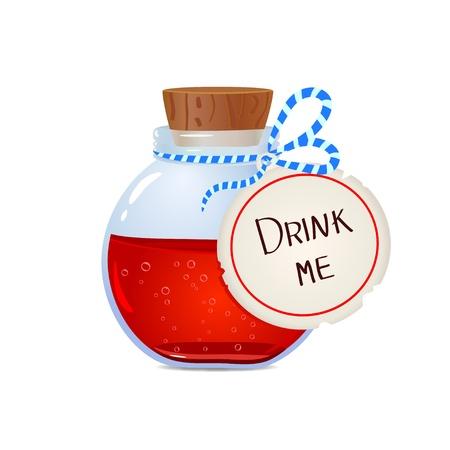 pocion: Ilustración de una botella con una poción mágica Vectores