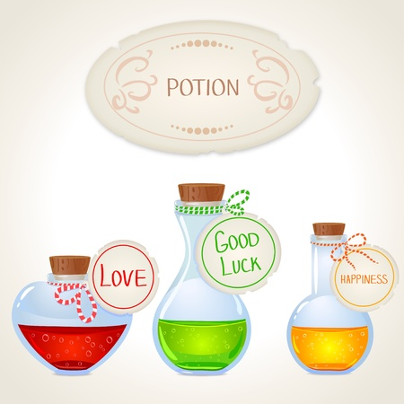 good luck: illustration of a bottle with a magic desire potion
