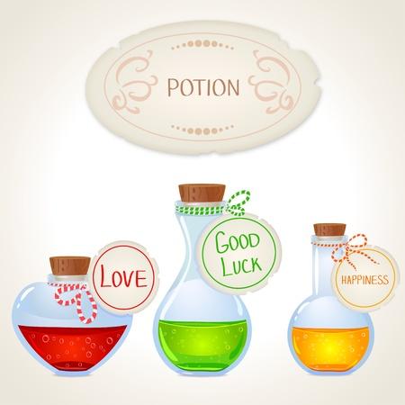 elixir: Ilustración de una botella con una poción mágica deseo