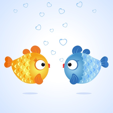 illustration of two funny character fishes Stock Vector - 17218617