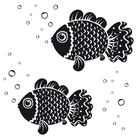 outline drawing of fish: black and white illustration vintage silhouette fish Illustration
