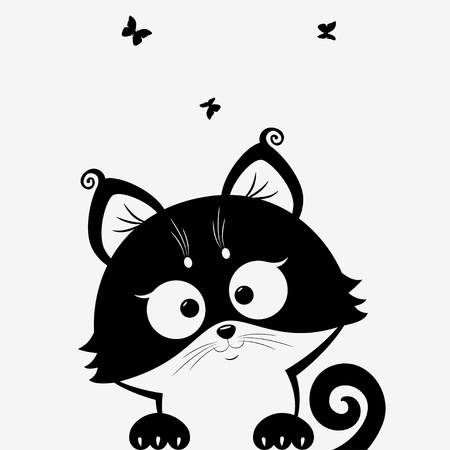 butterfly tail: black and white illustration silhouette cute cats