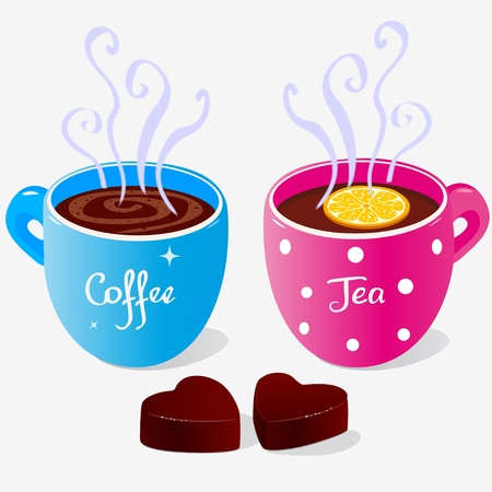cofe: illustration of two cups of coffee and tea and sweets