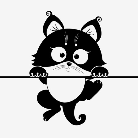 monochromatic: kitten Illustration