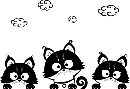 kittens three Vector