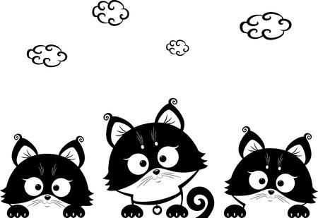 three animals: tre gattini Vettoriali