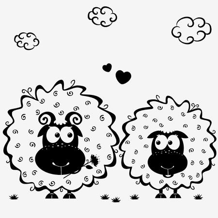 dessin noir blanc: agneau noir