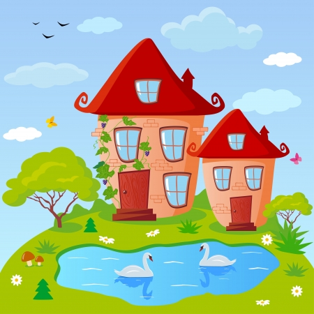 illustration of fairy houses with a lake on the edge Vector