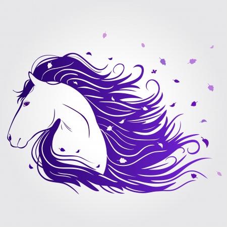 yegua: Ilustración del hermoso caballo con una melena de desarrollo