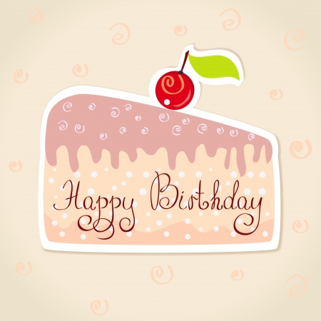 trozo de pastel: ilustraci�n de las etiquetas engomadas del feliz cumplea�os en forma de un pedazo de la torta