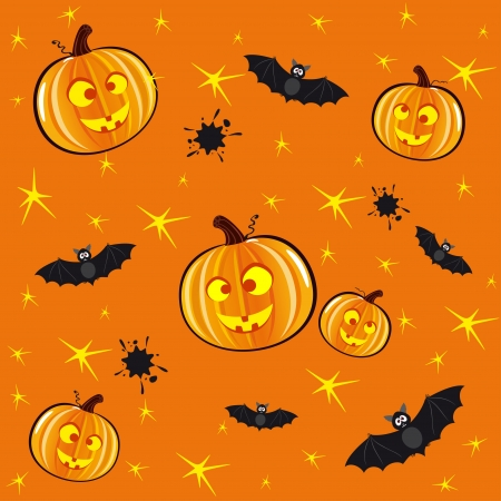 Seamless orange background for Halloween with pumpkins and bats