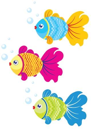 設計図は 3 つのカラフルな魚の泳ぐ