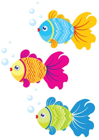 underwater fishes: illustration of three colorful fish swim for design Illustration