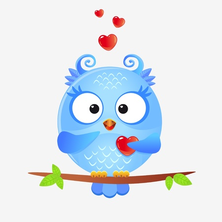 illustration of a cute owls in love with hearts Stock Vector - 17805911