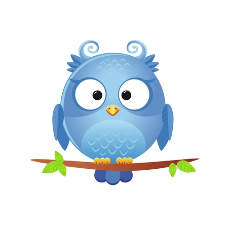 bird icon: illustration of a funny character owl sitting on a branch