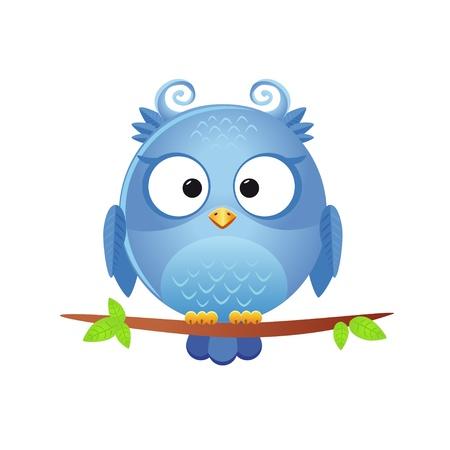 buhos: ilustración de un personaje divertido búho sentado sobre una rama