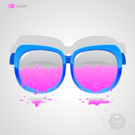 illustration with sunglasses coming off pink paint Stock Vector - 17806002