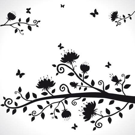 vector silhouette of the branch with beautiful flowers