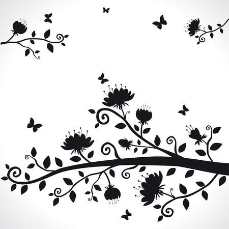 arboles blanco y negro: vector silueta de la rama con flores hermosas