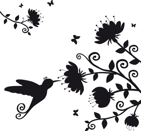 vector silhouette of the branch with flowers and bird kolibri